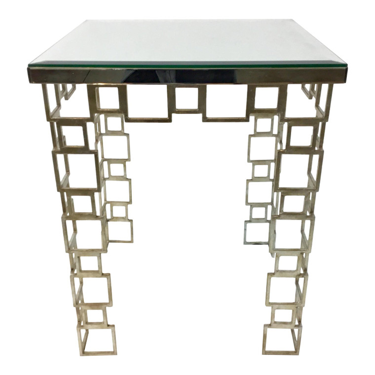 Currey & Co. Euclid Modern Mirror and Metal Metal End Table
