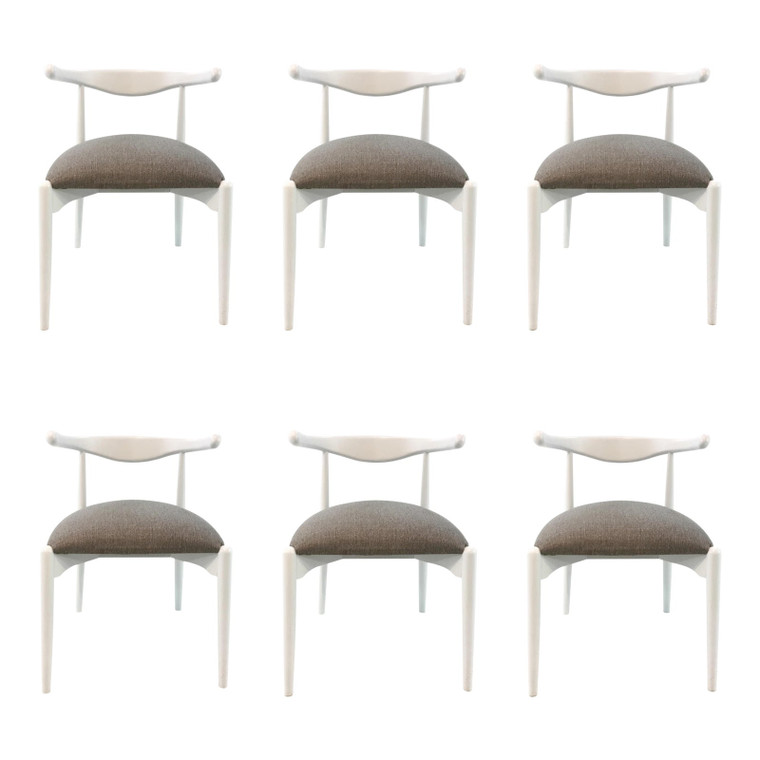 Mid-Century Modern Style Caracole White and Gray Dining Chairs Set of Six