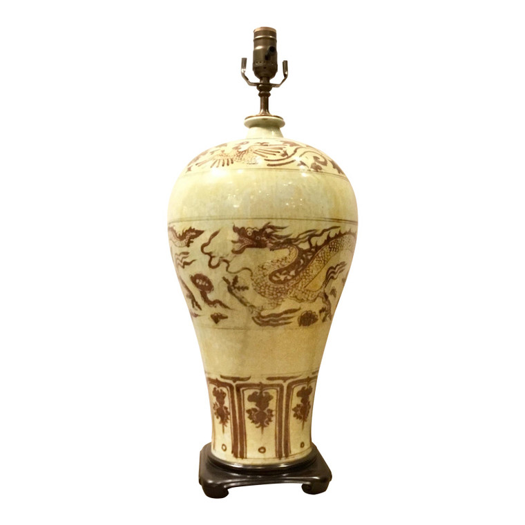 Asian Style Large Chinease Porcelain Sepia Glazed Dragon Table Lamp
