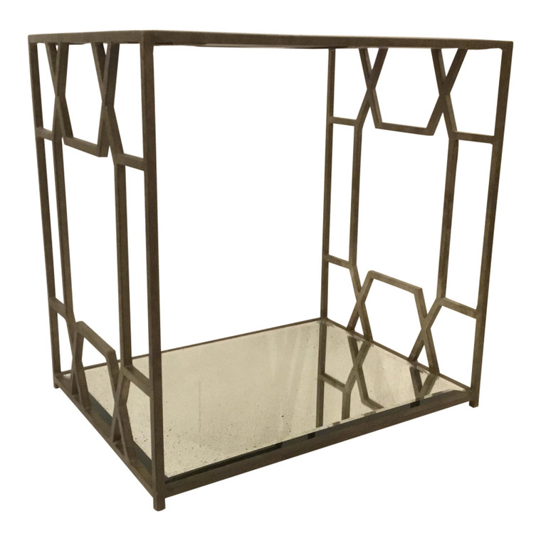 Modern Metal and Mirror Geometric Side Table