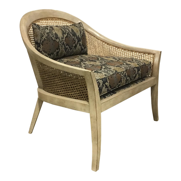 Currey & Co. Modern Cane Scoop Lounge Chair