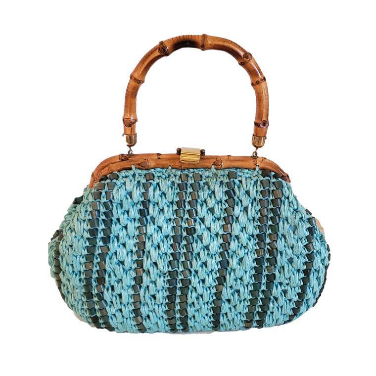 Aqua colored woven bag