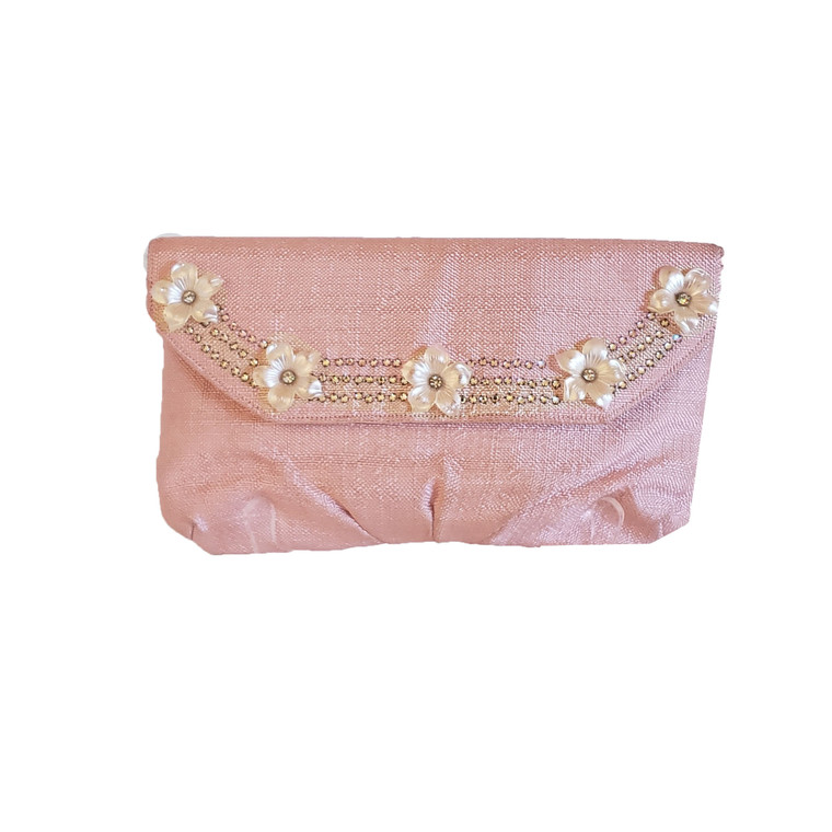 Pink Rayon Linen Clutch