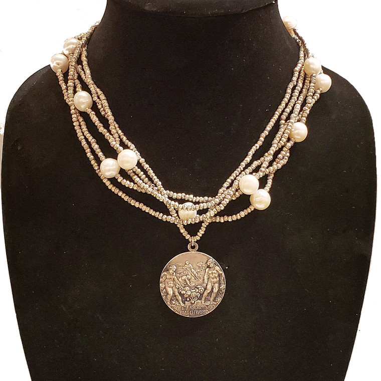 Antique Italian Horticulture Exhibition Medal Necklace