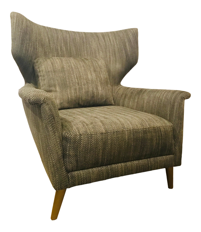 Caracole Signature Modern Charcoal and Beige Chevron Print the Elemental Wingback Chair