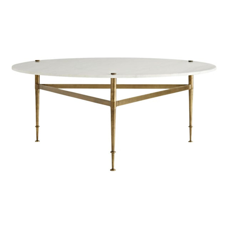 Arteriors Modern Antique Brass and White Marble Brittney Cocktail Table