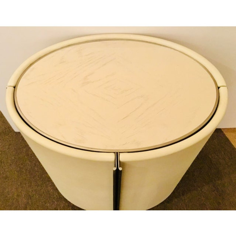 Global Views Modern Ivory Leather Ellipse Side Table