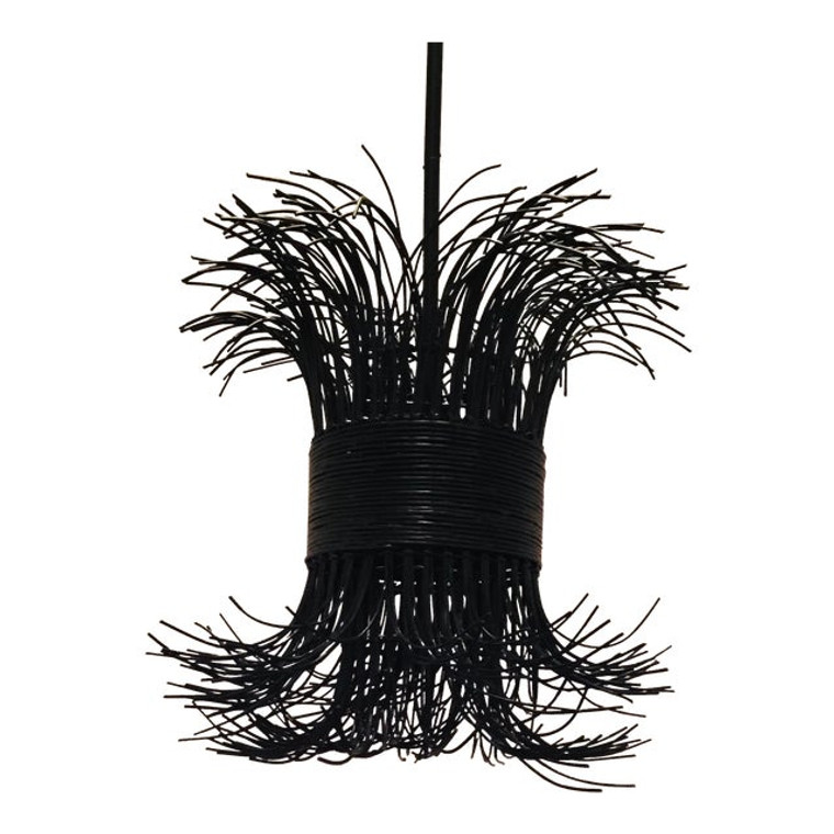 Arteriors Organic Modern Black Rattan Filamento Pendant
