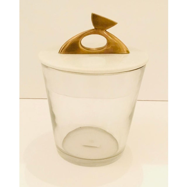 Arteriors Contemporary Glass, Brass and White Marble Wortham Ice Bucket