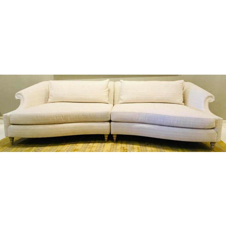 Caracole Modern White Chenille Two Piece Roll Model Sofa