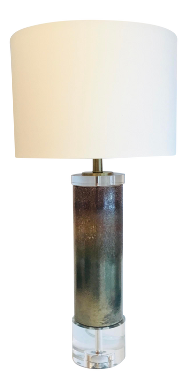 Modern Large Metallic Finished Clear Glass Stardust Table Lamp