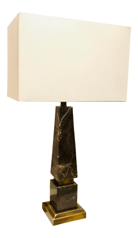 Modern Espresso Marble Obelisk Table Lamp