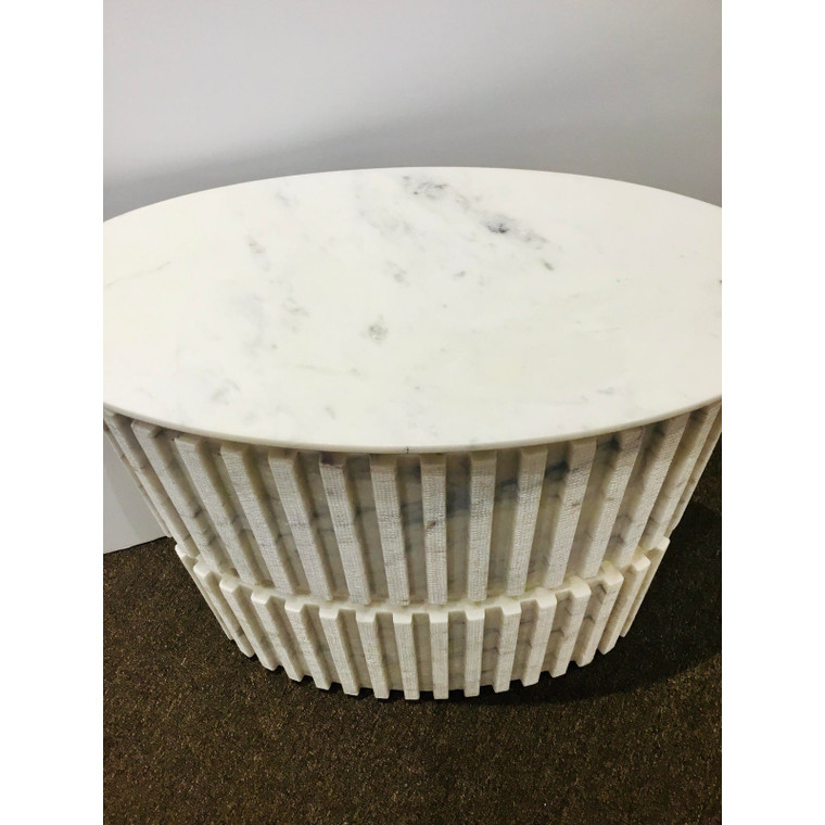 Studio A Home Small Modern Large White and Gray Channel Marble Pedestal