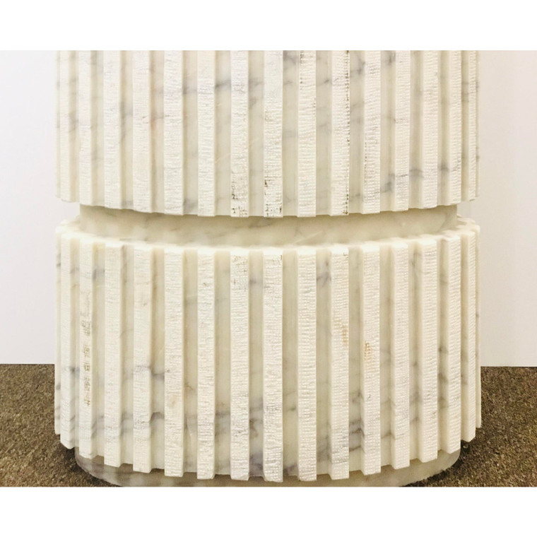 Studio A Home Modern Large White and Gray Channel Marble Pedestal