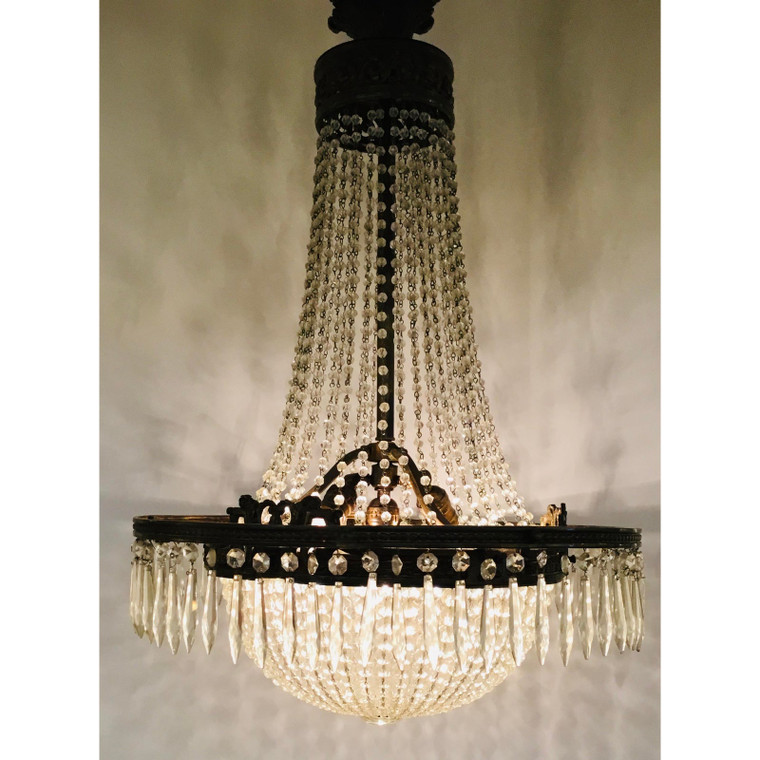 Antique Art Deco Crystal and Brass Basket Chandelier