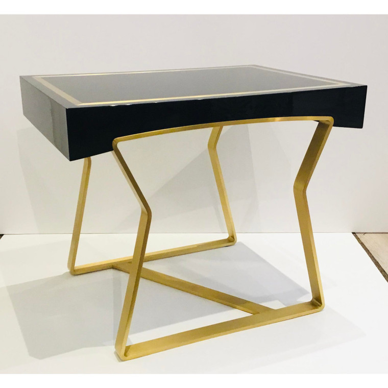 Caracole Signature Black Lacquer and Brass Finished the Modernist End Table
