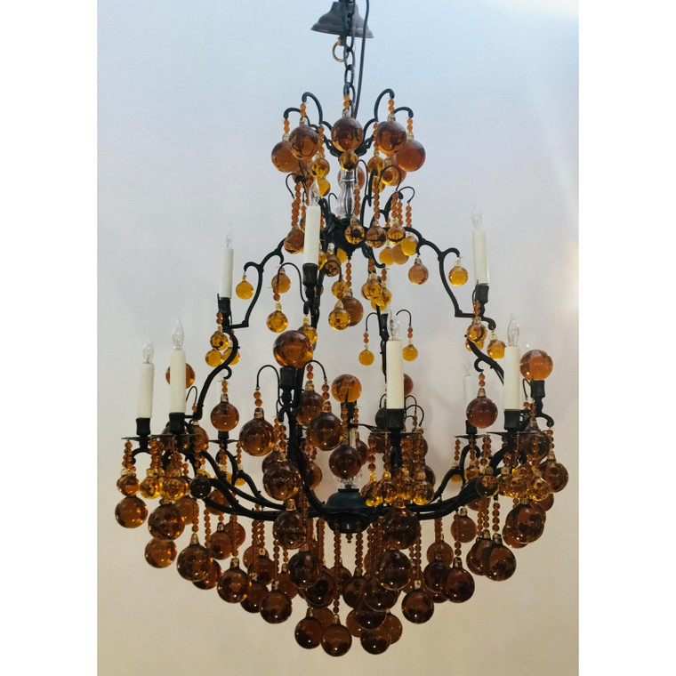 Myran Allen Luxury Lighting Bronze and Amber Crystal Ball Chandelier