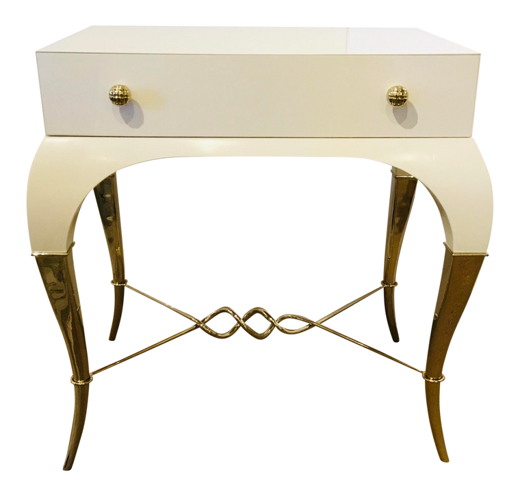 Caracole Signature Modern White and Gold Parisian Nightstand