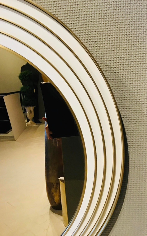 Caracole Modern White and Gold Art Deco Inspired the Solar Wall Mirror