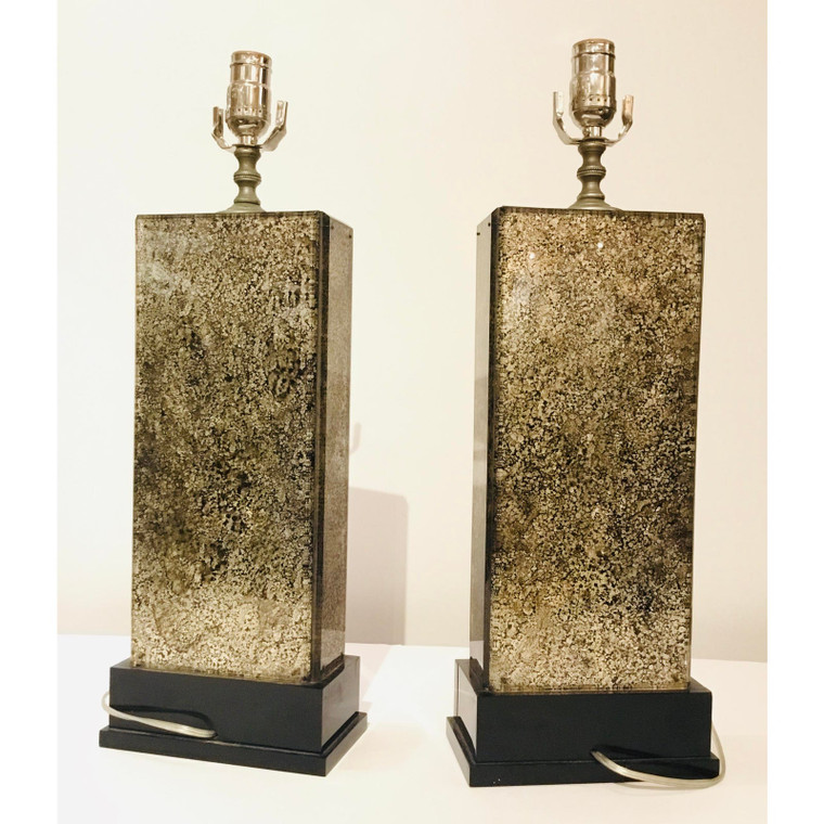 1920's Art Deco Etched Glass Table Lamps Pair