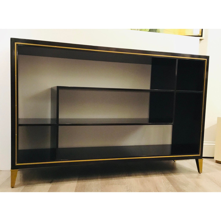 Thomas Pheasant for Baker Furniture Modern Dark Wood and Gold Nina Console Table