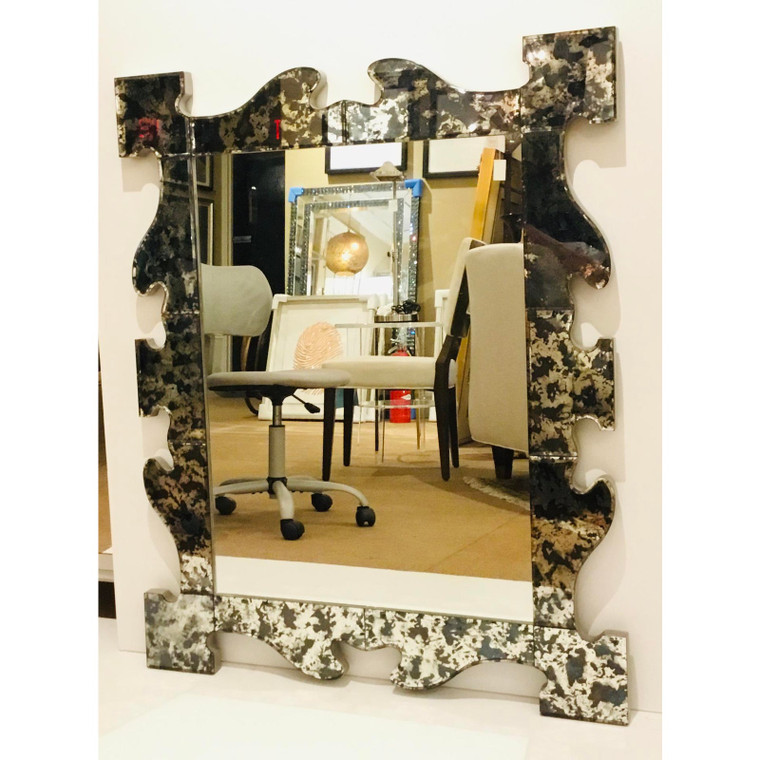 Modern Maitland-Smith Cut Paneled Antique Mirror Venetian Wall Mirror