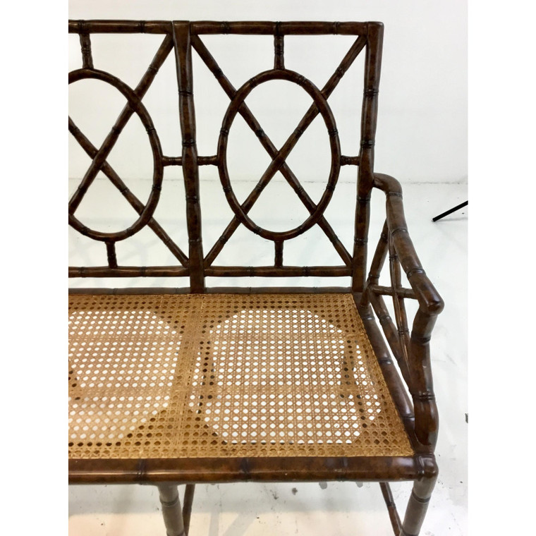 Hickory Chair Mid-Century Modern Style Bamboo and Caned Wood Gillow Bench