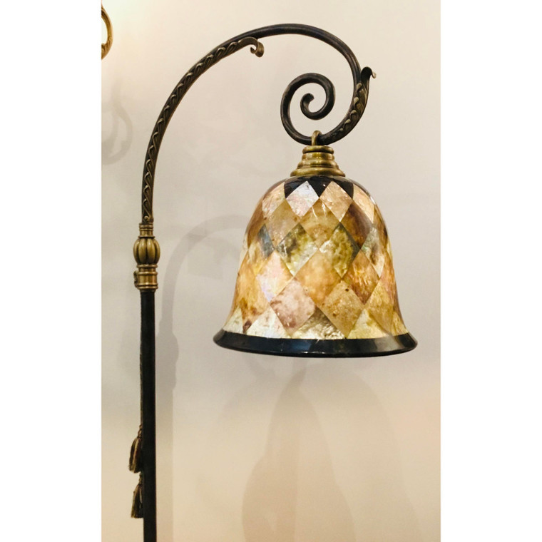 Maitland-Smith Transitional Shell and Scrolled Bronze Finished Iron Floor Lamp