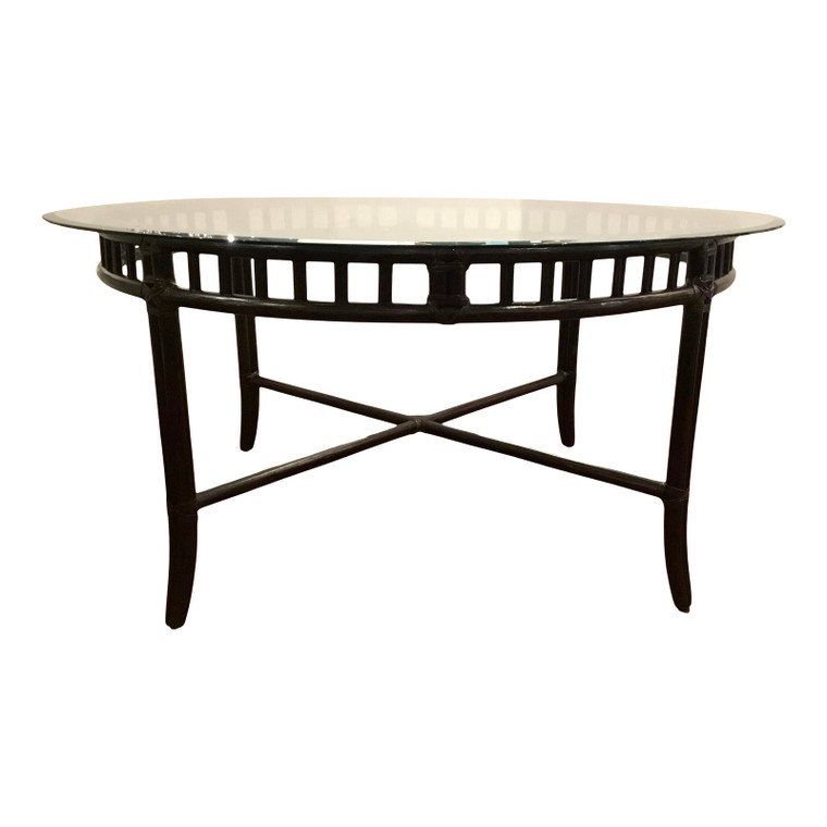 McGuire Asian Modern Black Bamboo Tobacco Dining Table