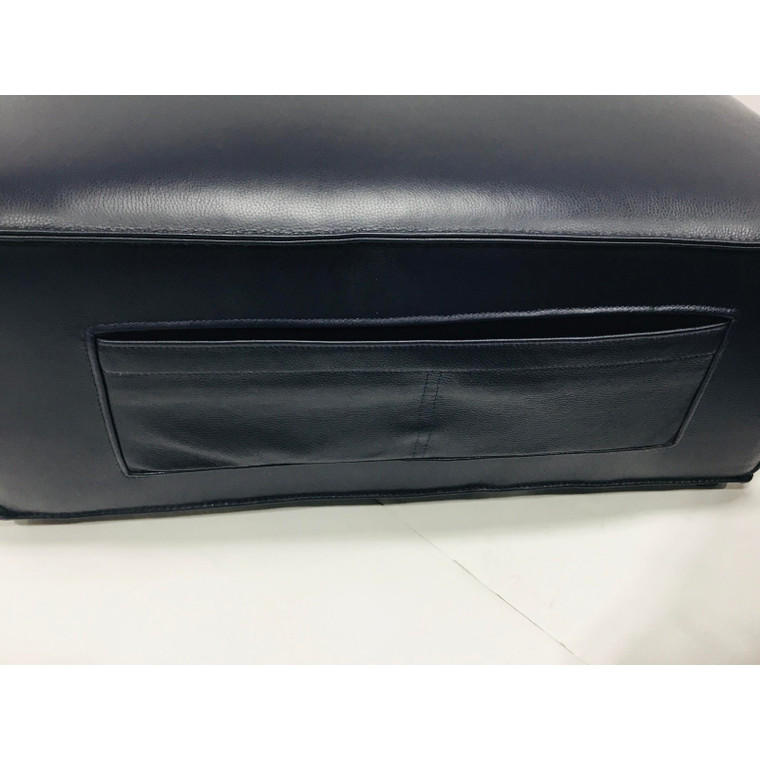 Modern Midnight Blue Leather Pocket Ottoman