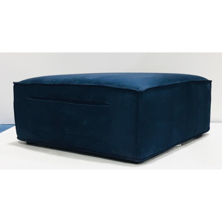 Modern Navy Blue Suede Pocket Ottoman