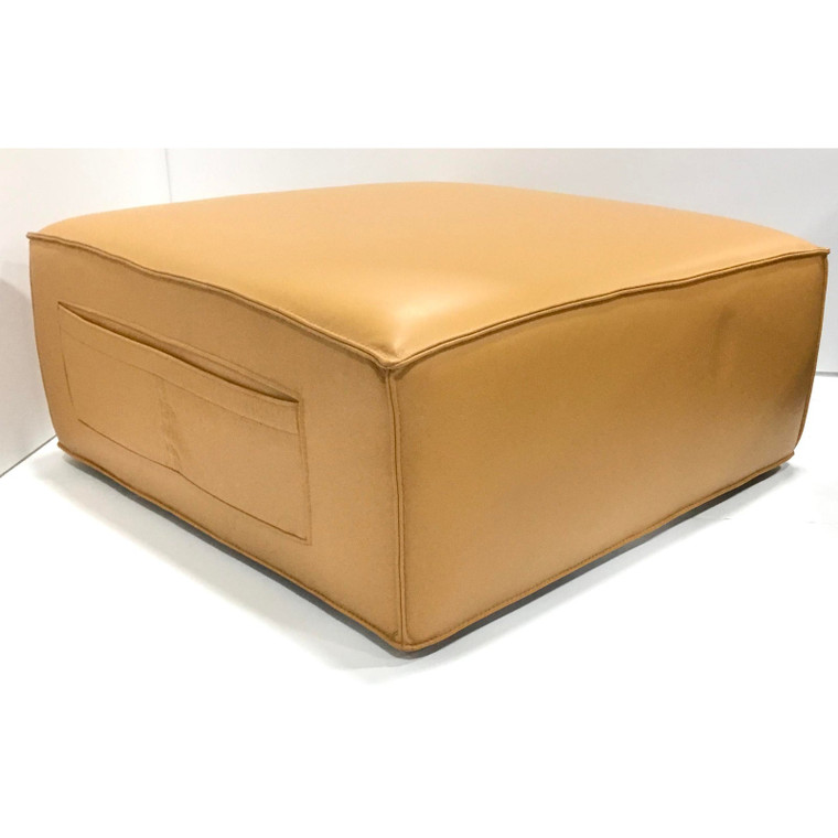 Modern Camel Leather Pocket Ottoman, Good Cocktail Ottoman