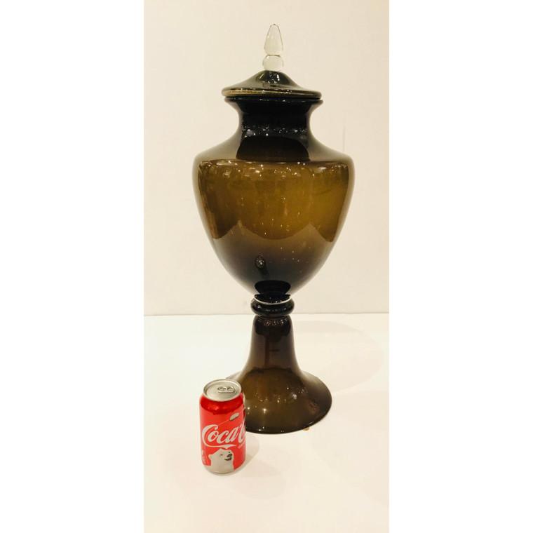 Large Modern Cocoa Art Glass Rio Vessel