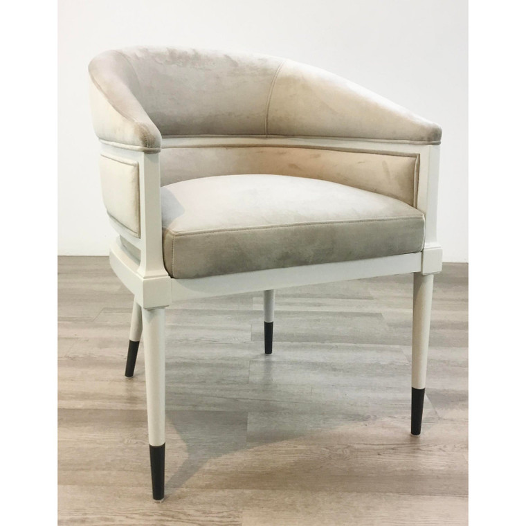 Caracole Signature Modern Gray Velvet Arm Chair