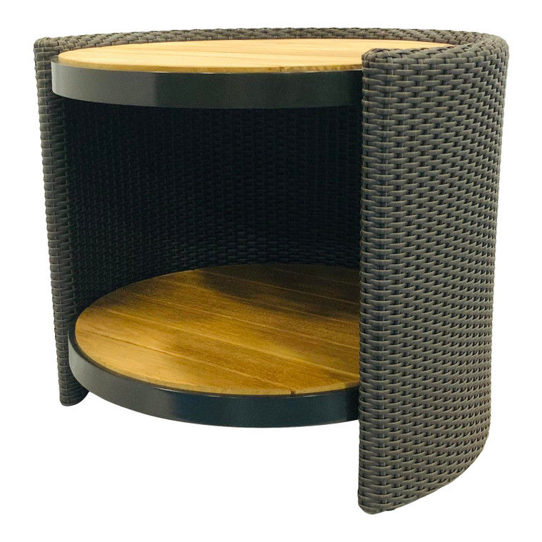 McGuire Organic Modern Taupe Synthetic Rattan Outdoor End Table