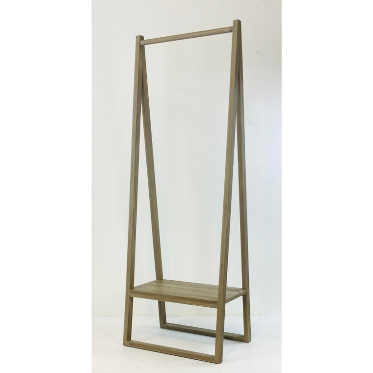 Light Gray Wood Finished Stand Alone Coat Rack