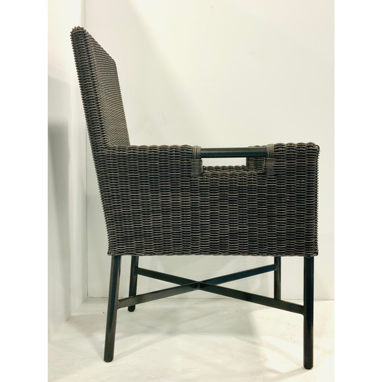 Thomas Pheasant for McGuire Modern Chocolate Brown Woven Resin Dining Chairs - Set of 4