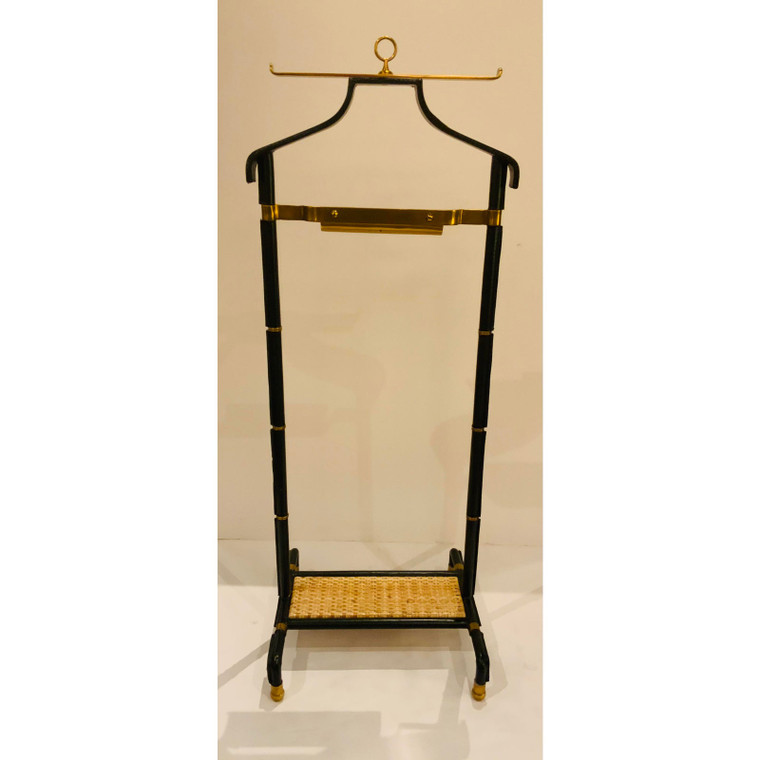 Mainland-Smith Asian Modern Black Leather and Brass Coat Valet