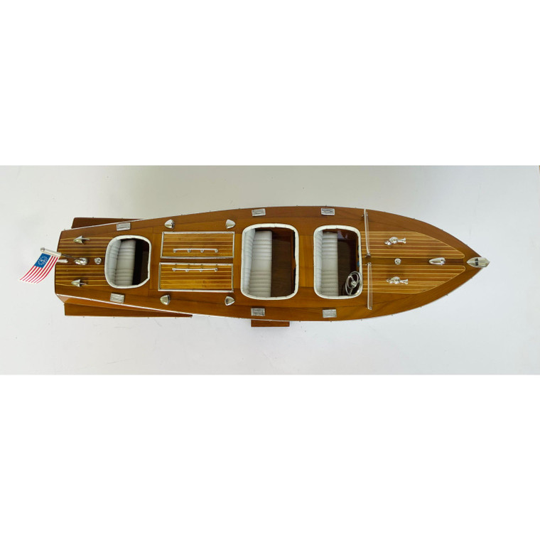 Nautical Triple Cockpit Boat Model With Stand Sculpture