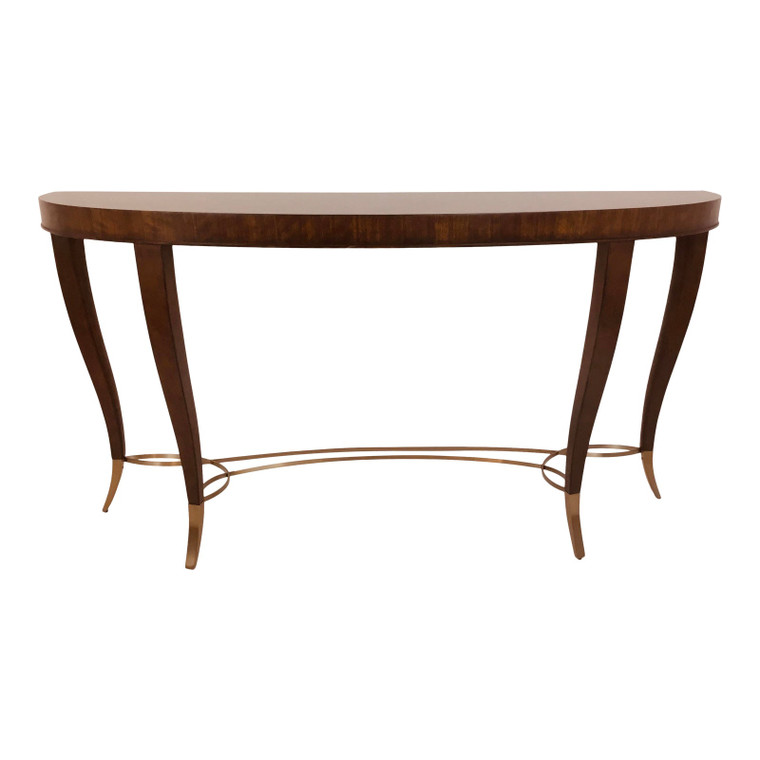 Modern French Art Deco Style Wood Demi-Lune Console Table