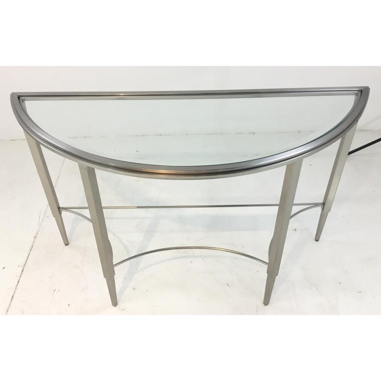 Modern Silk Nickel Demi-Lune Console Table