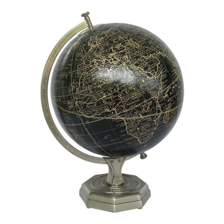 Vintage Style Black and Pewter Vaugondy Globe