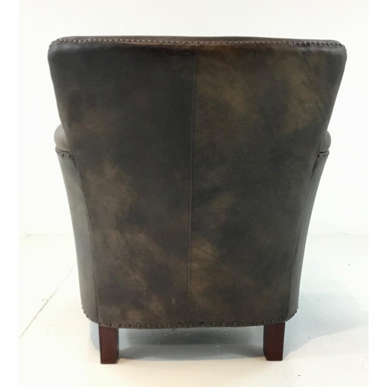 Vintage Style Brown and Gold Leather Club Chair