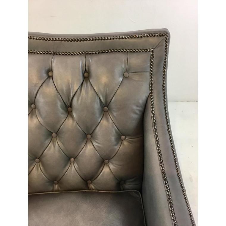 Henredon Transitional Gray Tufted Leather Arabella Club Chair