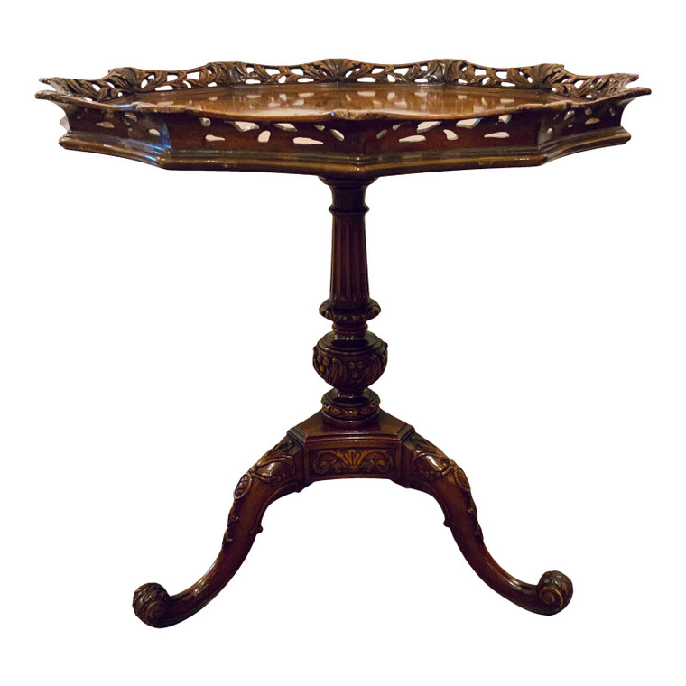 Vintage 1940s Hand Carved Mahogany Pie Crust End Table