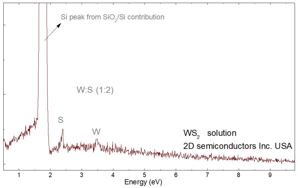 EDS spectrum on 2D WS2 solution