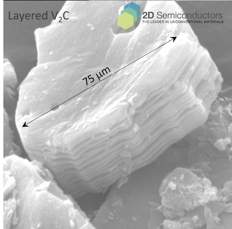 V2C MXene crystals and collected SEM images