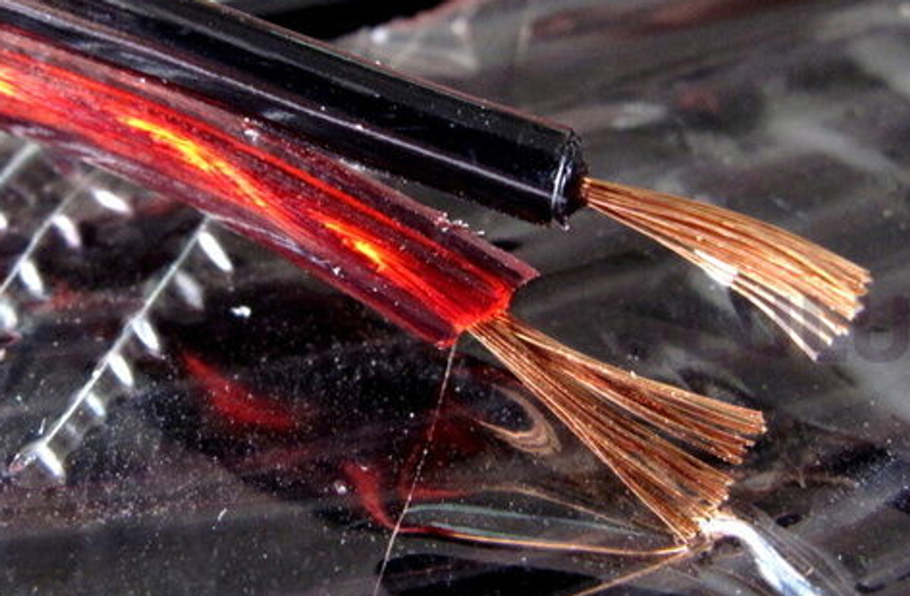 18AWG 2-cond Speaker Wire, 100% Copper, Clear Red/Black