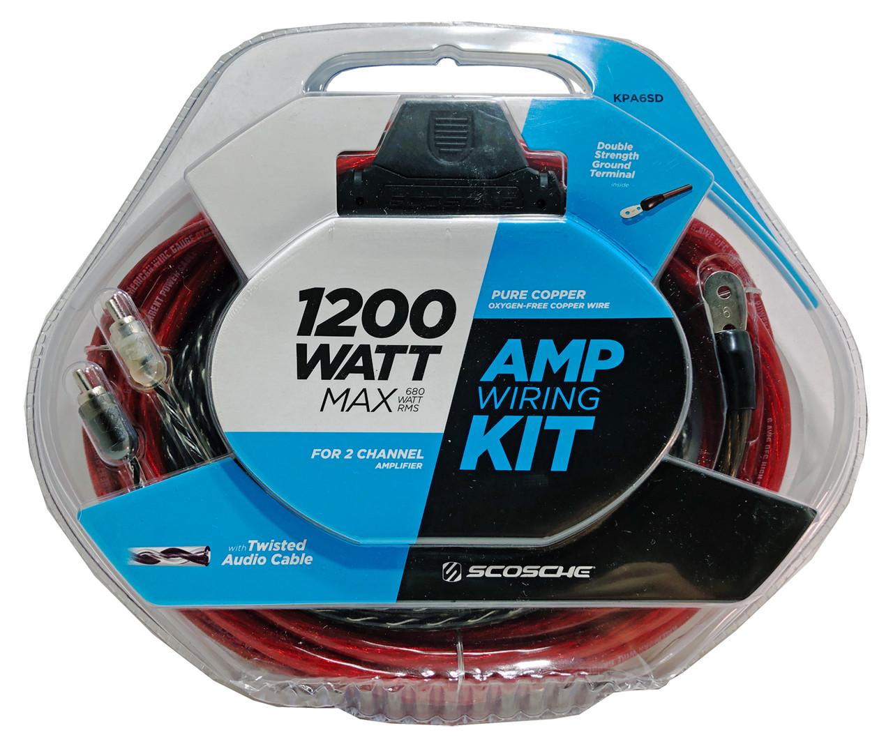 1200W Amplifier Wiring Kit, 100% Copper, SCOSCHE KPA6SD ... on
