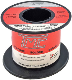"100g. Solder Wire, 60/40, 0.8mm/0.031""  22-6040-31TMC1/4"